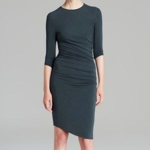 3/4-Sleeve Ruched Helmut Lang Knit Dress